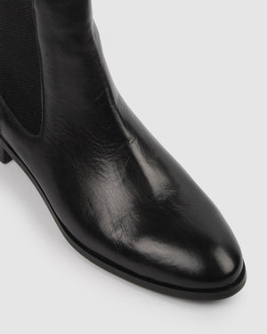 VINTAGE FLAT ANKLE BOOTS BLACK LEATHER