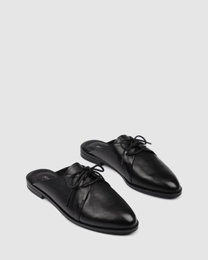 WATKINS LACE UPS BLACK LEATHER