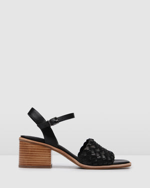 WHIPPET MID HEEL SANDALS BLACK LEATHER