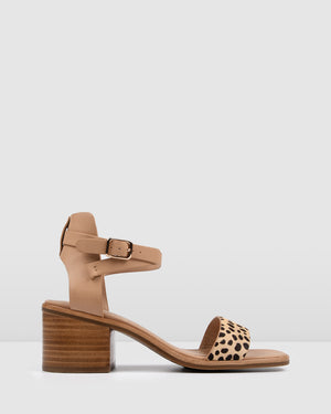 WHITNEY MID HEEL SANDALS TAN LEOPARD