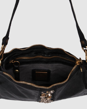 CAMPOMAGGI WILLOW ENVELOPE CROSS BODY BAG BLACK LEATHER