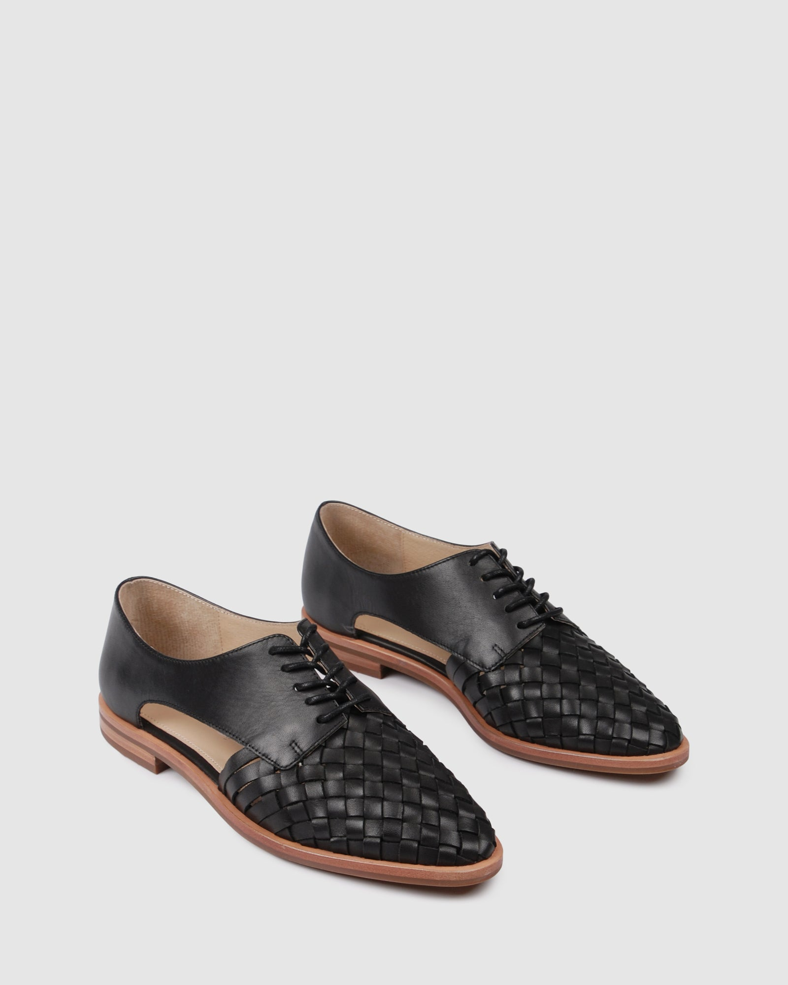 WREN CASUAL FLATS BLACK LEATHER