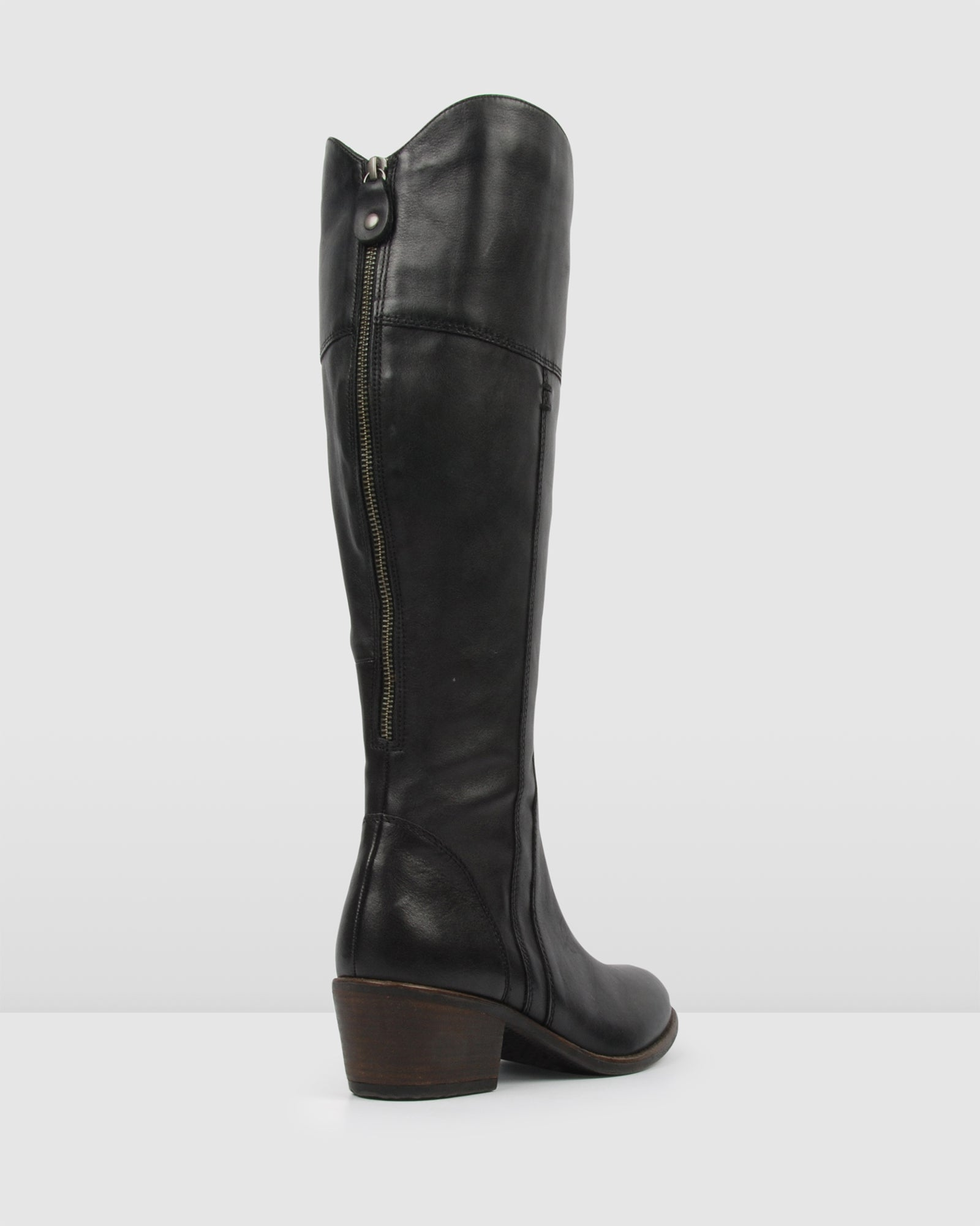 YANG MID KNEE BOOTS BLACK LEATHER