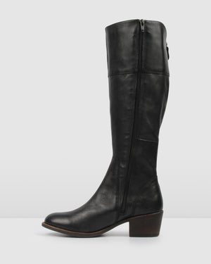 YANG - WIDE MID KNEE BOOTS BLACK LEATHER