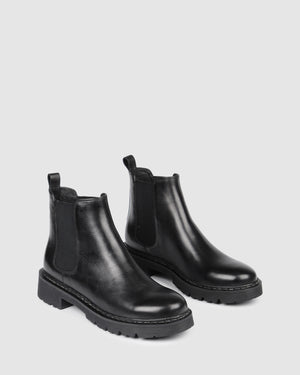 ZAHARA FLAT ANKLE BOOTS BLACK LEATHER