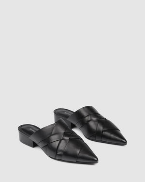 ZELDA DRESS FLATS BLACK LEATHER