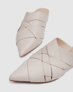 ZELDA DRESS FLATS BONE LEATHER