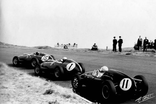 Stirling Moss, Jean Behra, Cliff Allison 1959 Holland