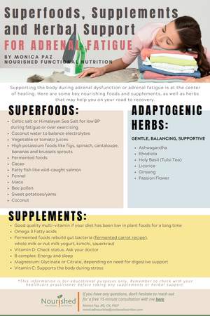 Superfoods, Supplements and Herbal Support for Adrenal Fatigue
