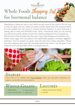 Whole Foods Shopping List for Hormonal Balance