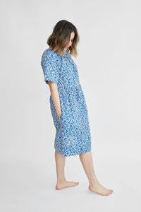 Caron Callahan Amelia Dress in Micro Floral Blue