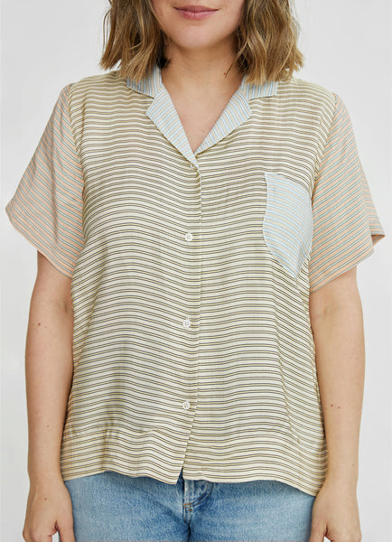 Caron Callahan Johan Top in Viscose Stripes