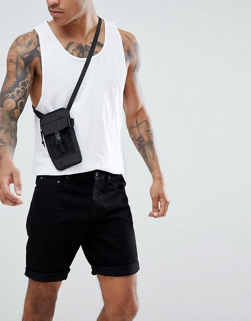 FOSDESIGN denim shorts in slim black