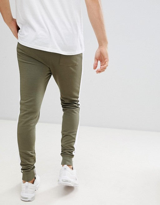 FOS DESIGN skinny joggers with side stripe in khaki
