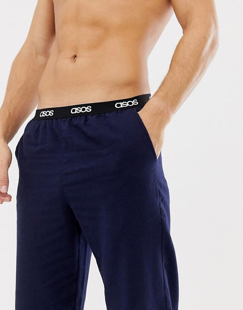 FOS DESIGN woven straight pyjama bottoms in navy