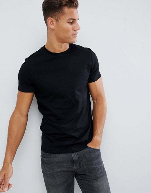 organic t-shirt with crew neck in black