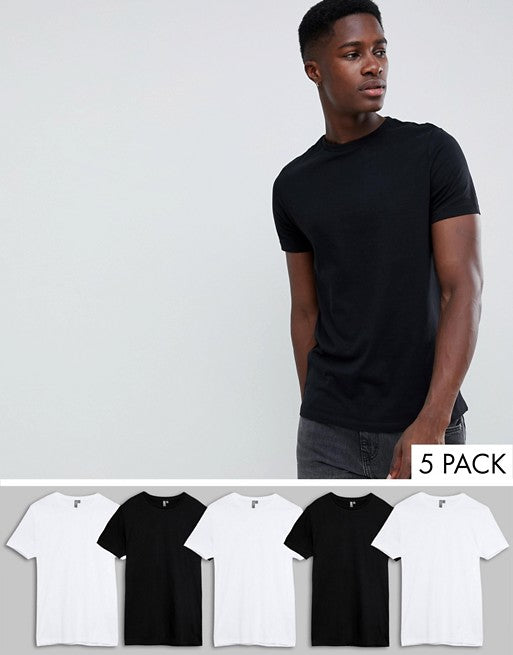 t-shirt with crew neck 5 pack multipack saving