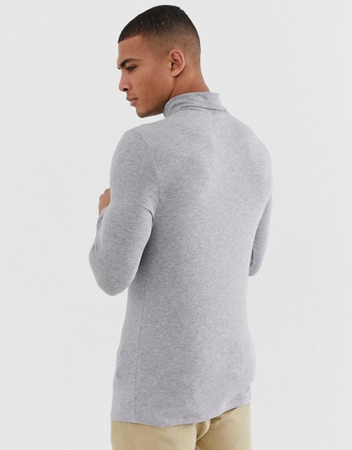 muscle fit long sleeve roll neck t-shirt with stretch in grey