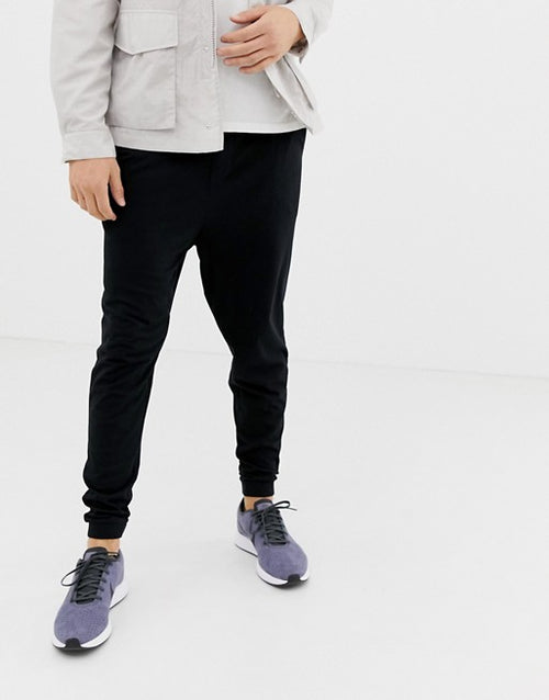 FOS DESIGN drop crotch lightweight joggers in black