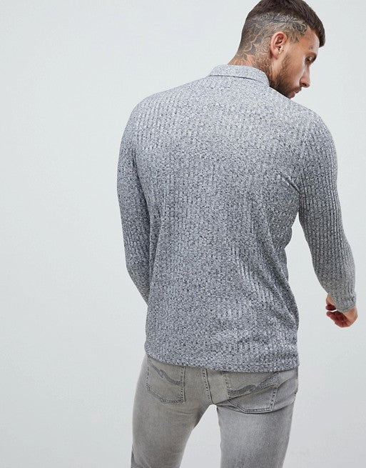 long sleeve polo shirt in interest rib