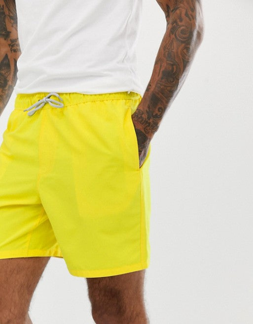 FOS DESIGN swim shorts in yellow in mid length
