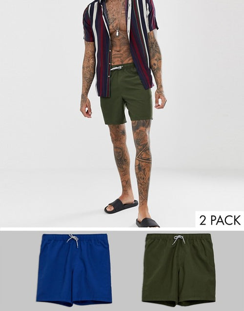 FOS DESIGN swim shorts 2 pack in blue & khaki mid length multipack saving