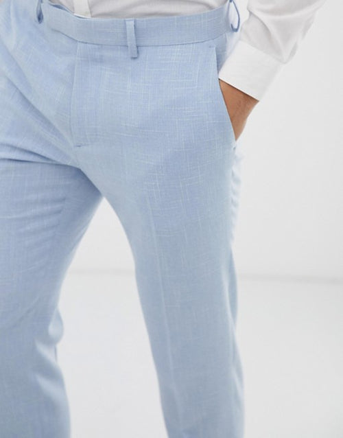 FOS DESIGN wedding skinny suit trousers in blue cross hatch