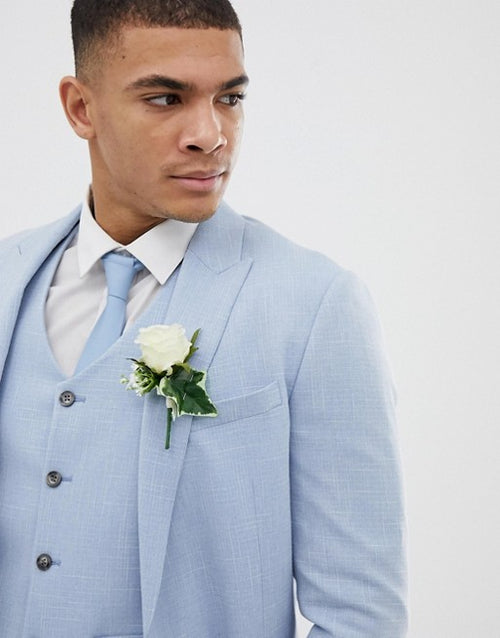 FOS DESIGN wedding skinny suit jacket in blue cross hatch