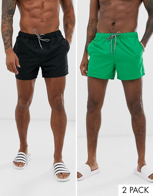 FOS DESIGN swim shorts 2 pack in green & black short length multipack saving
