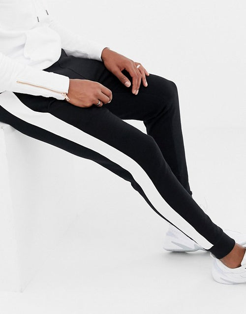 FOS DESIGN skinny joggers with side stripe