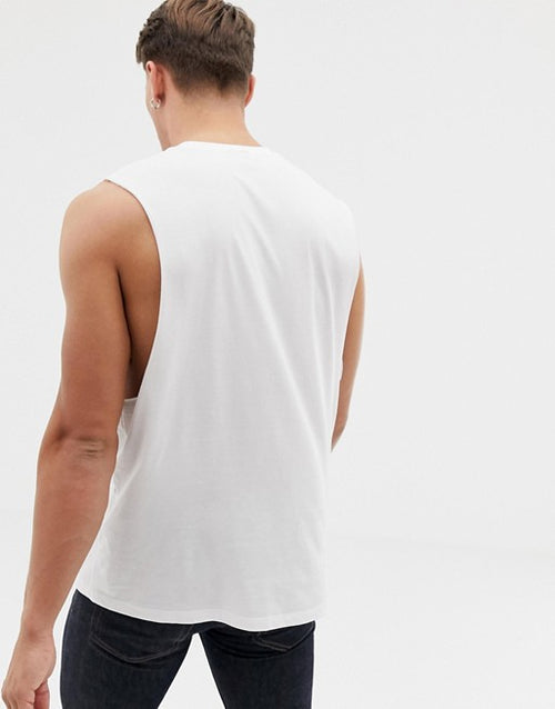 organic relaxed sleeveless t-shirt with dropped armhole in white