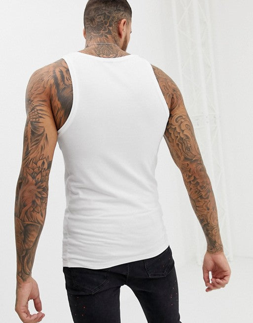 organic muscle fit vest with stretch in white