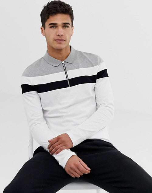 long sleeve polo shirt with zip neck and body and sleeve colour block in white