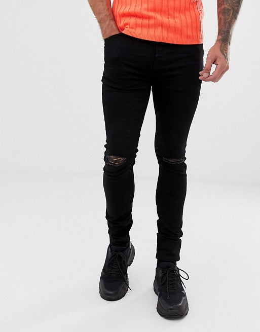 FOS DESIGN recycled super skinny jeans with knee rips