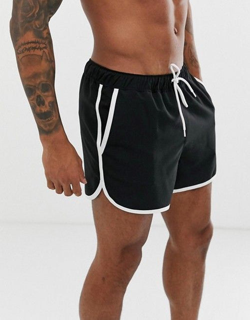 FOS DESIGN runner swim short in black with contrast white piping