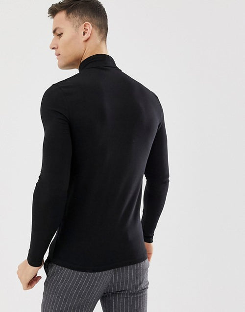 organic muscle fit roll neck long sleeve t-shirt with stretch in black