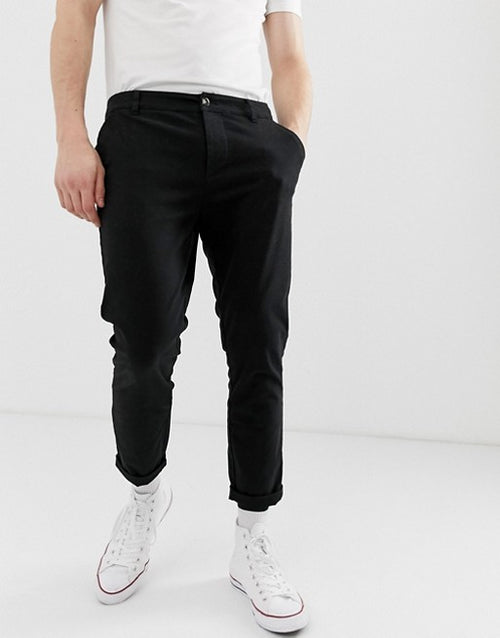 FOS DESIGN skinny cropped chinos in black