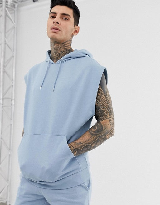 FOS DESIGN tracksuit sleeveless oversized hoodie/skinny short in blue