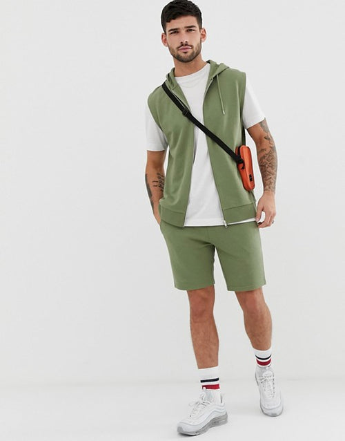 FOS DESIGN tracksuit sleeveless zip up hoodie / skinny short in green