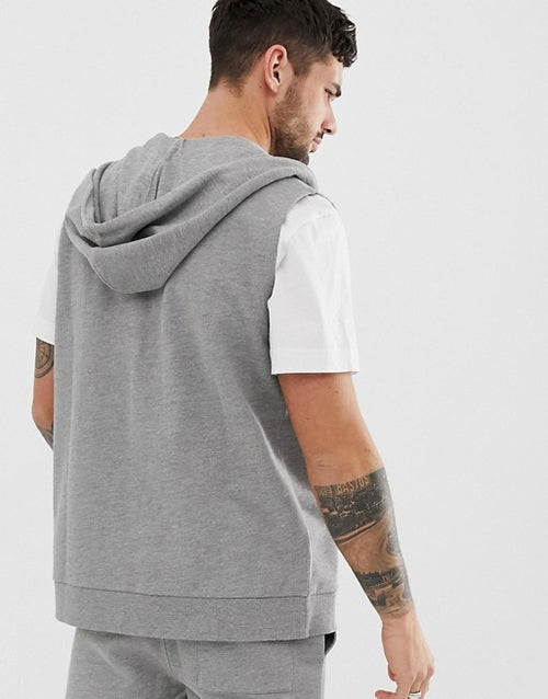 FOS DESIGN tracksuit sleeveless zip up hoodie/skinny shorts in grey marl