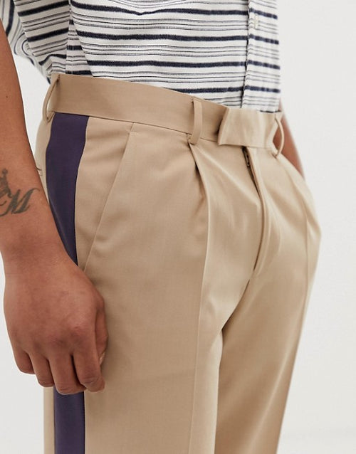 FOS DESIGN slim crop smart trousers in stone with blue side stripe