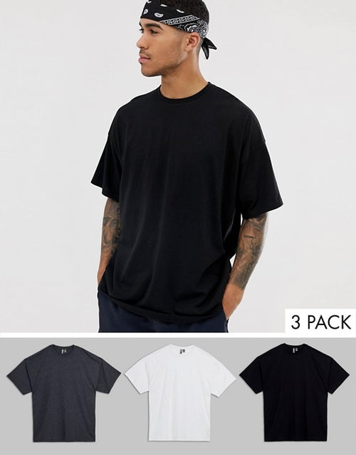 oversized t-shirt with crew neck 3 pack multipack saving