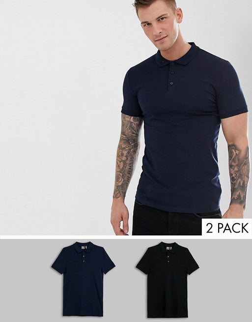FOS DESIGN muscle fit with stretch jersey polo 2 pack multipack saving