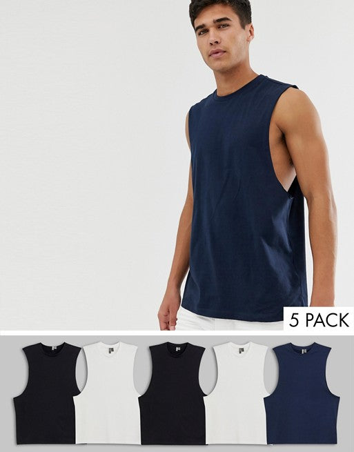 organic relaxed sleeveless t-shirt with dropped armhole 5 pack multipack saving