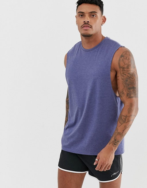 relaxed sleeveless t-shirt with dropped armhole in blue marl