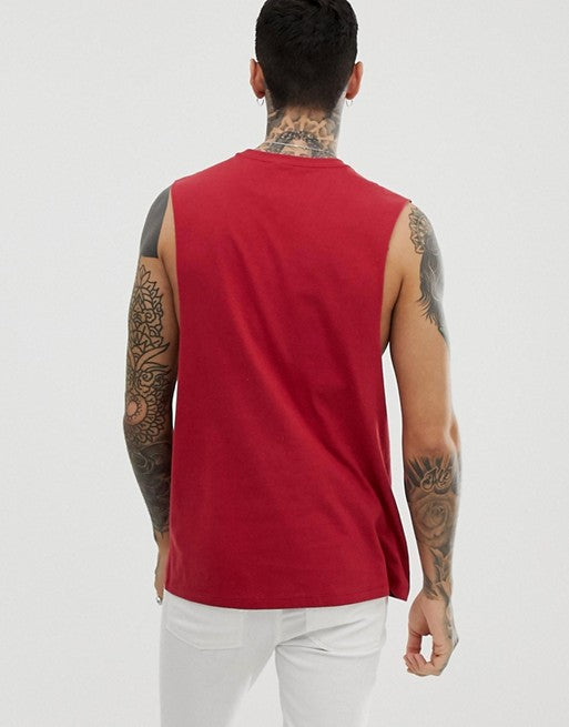 organic relaxed sleeveless t-shirt with dropped armhole in red