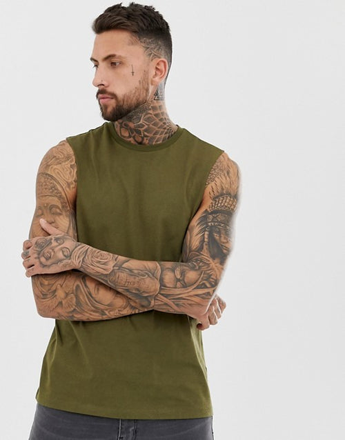 organic relaxed sleeveless t-shirt with dropped armhole in khaki