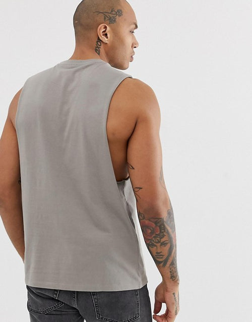 organic relaxed sleeveless t-shirt with dropped armhole in beige