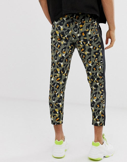 FOS DESIGN skinny joggers in leopard print