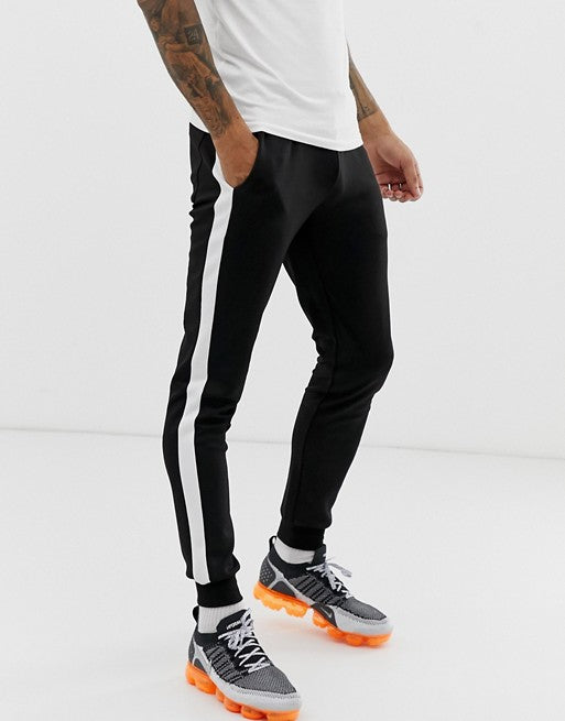 FOS DESIGN super skinny joggers in poly tricot with side stripe in black